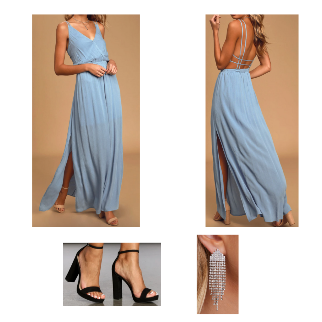 Formal Look: slate blue maxi dress with strappy back, black chunky heeled shoes, silver chandelier earrings