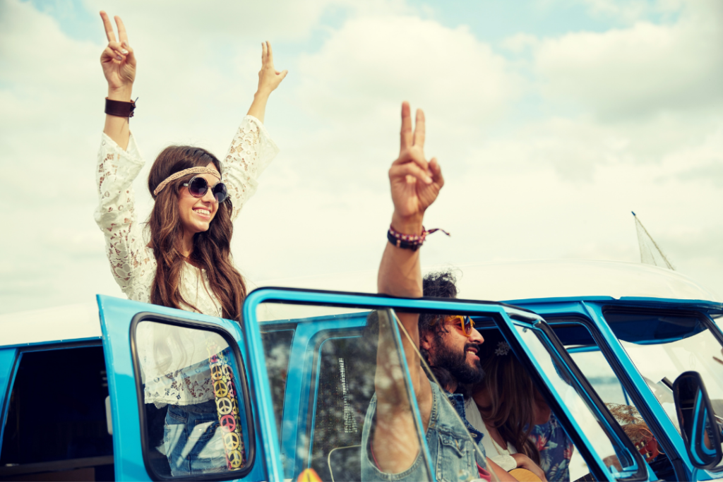 Woman wearing a hippie headband