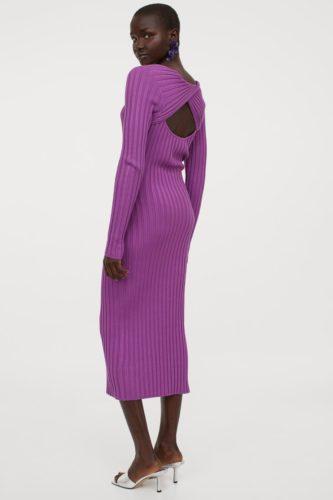 Purple sweater midi dress