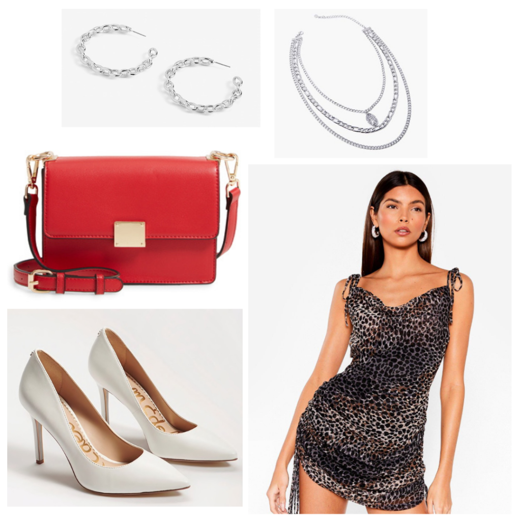 Sample look: leopard print dress with tie straps and ruching, white pointed toe pumps, red purse with gold details, silver jewelry