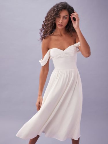White flowy off the shoulder dress