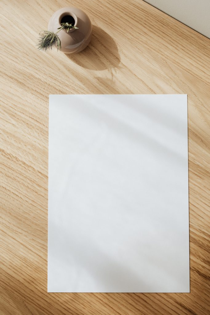 A blank A4 sheet of paper on a desk with a plant.