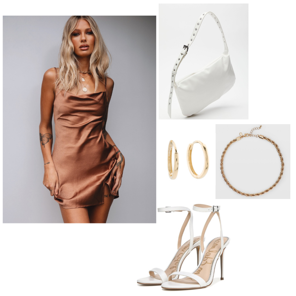College formal outfit 1: bronze silky slip dress, white stilettos with ankle strap, gold jewelry, white shoulder bag