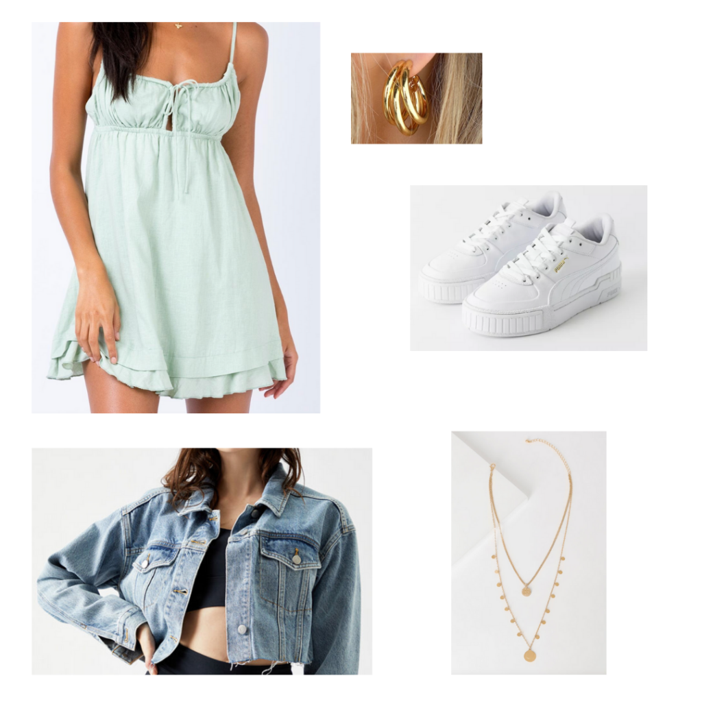 2021 summer outfit set: mint green sundress, distressed denim jacket, white sneakers, gold hoop earrings, gold layered jewelry