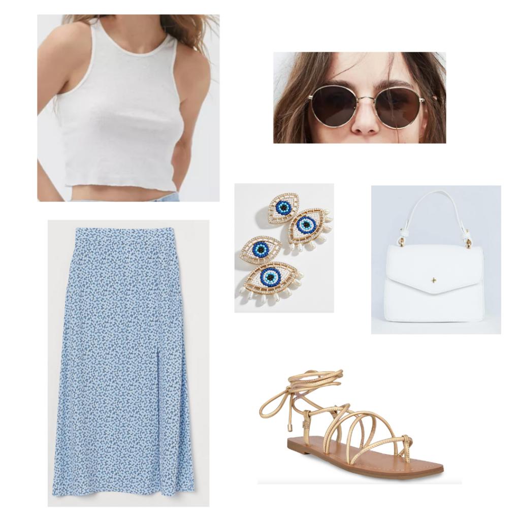 shopping guide: white crop top high-neck tank, baby blue floral print maxi skirt, gladiator gold sandals, white mini handbag