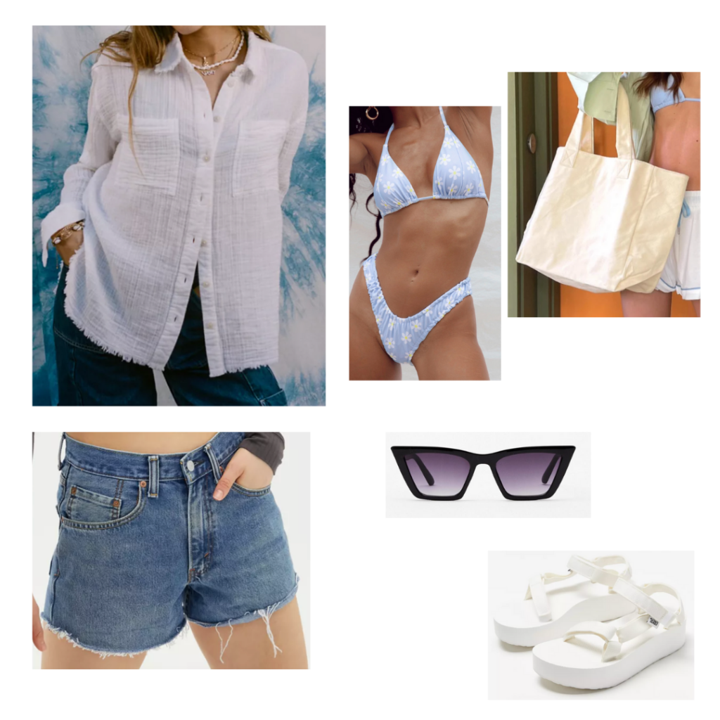 Summer 2021 sample outfit: white seersucker button-up blouse, distressed shorts, blue floral bikini, basic khaki tote, platform white sandals, black sunglasses