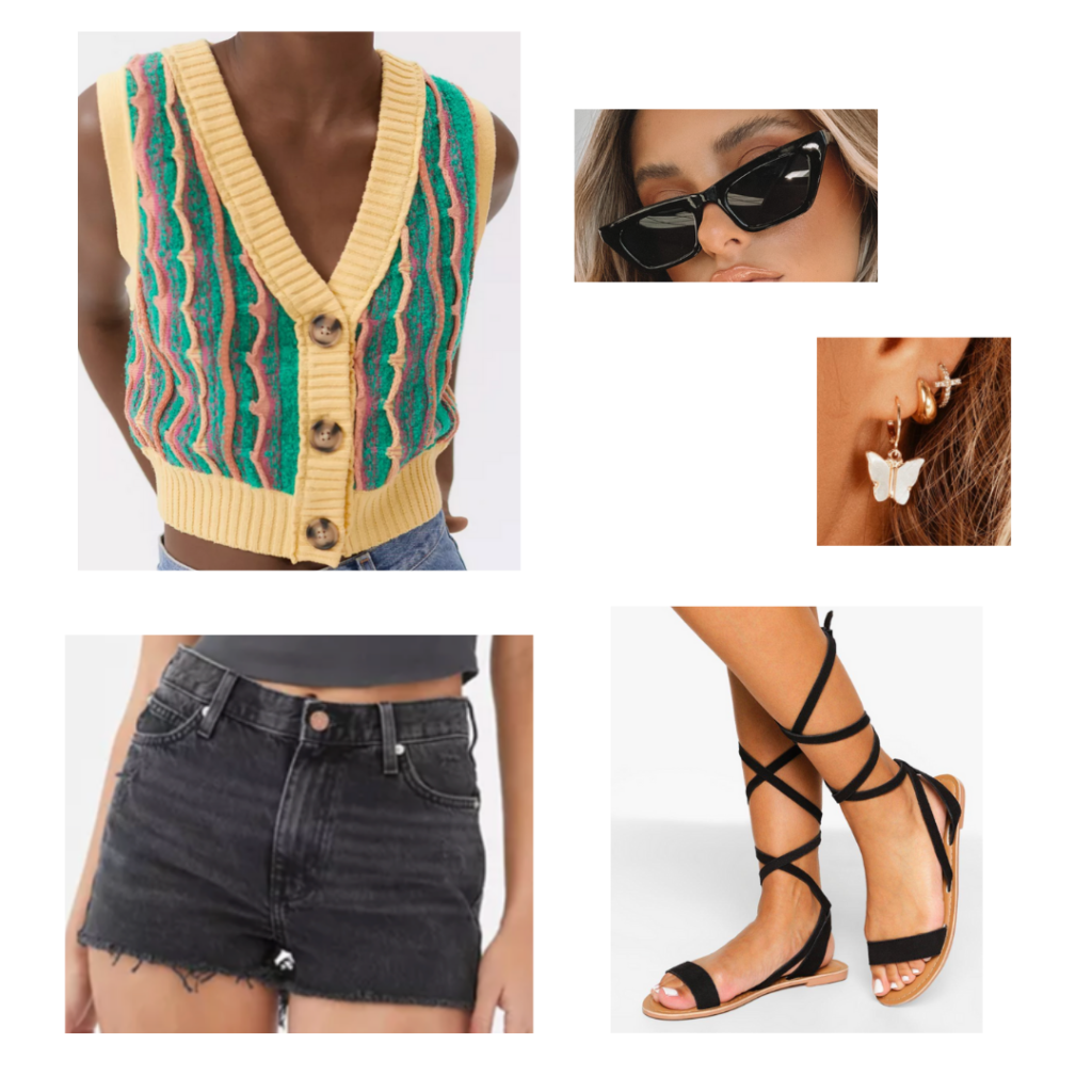 outfit set: yellow and green sweater vest, grey high-waisted shorts, strappy black sandals, thin black sunglasses, butterfly dangle earrings