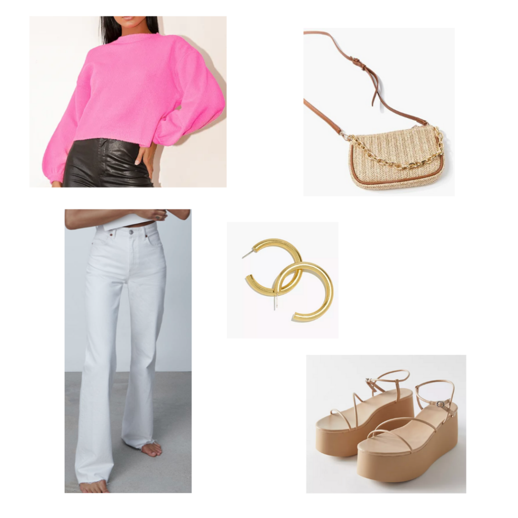 2021 summer outfit set: hot pink long sleeve top, white flare jeans, platform tan sandals, wicker handbag, gold jewelry