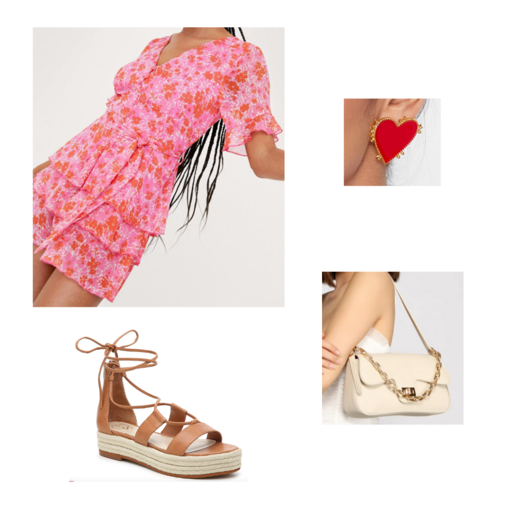 product information: pink and red floral sundress, brown espadrilles with ankle straps, red and gold heart earrings, beige purse with gold details