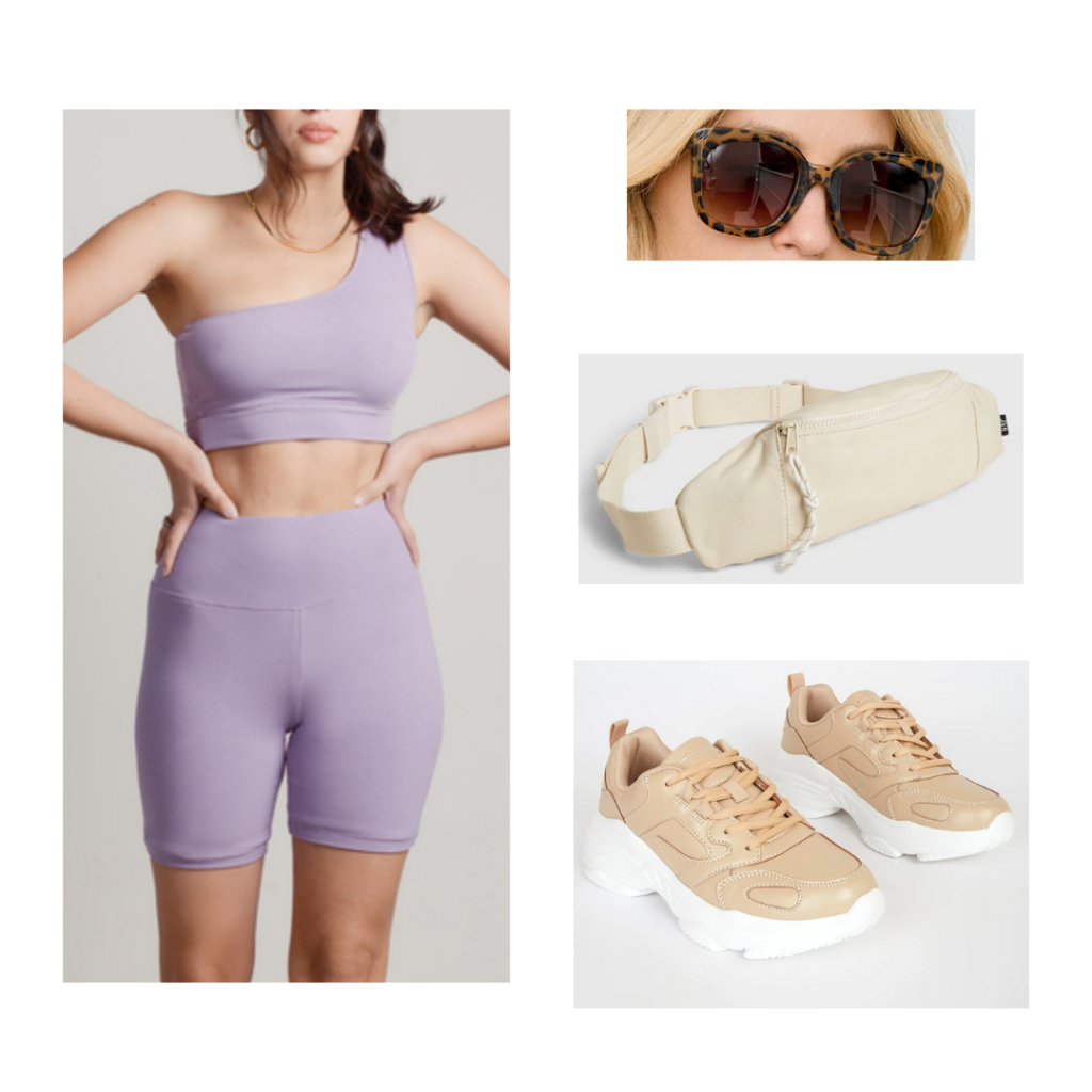 Summer 2021 outfit: lavender biker short and one-strap sports bra set, beige fanny pack, chunky tan and white sneakers, tortiseshell sunglasses