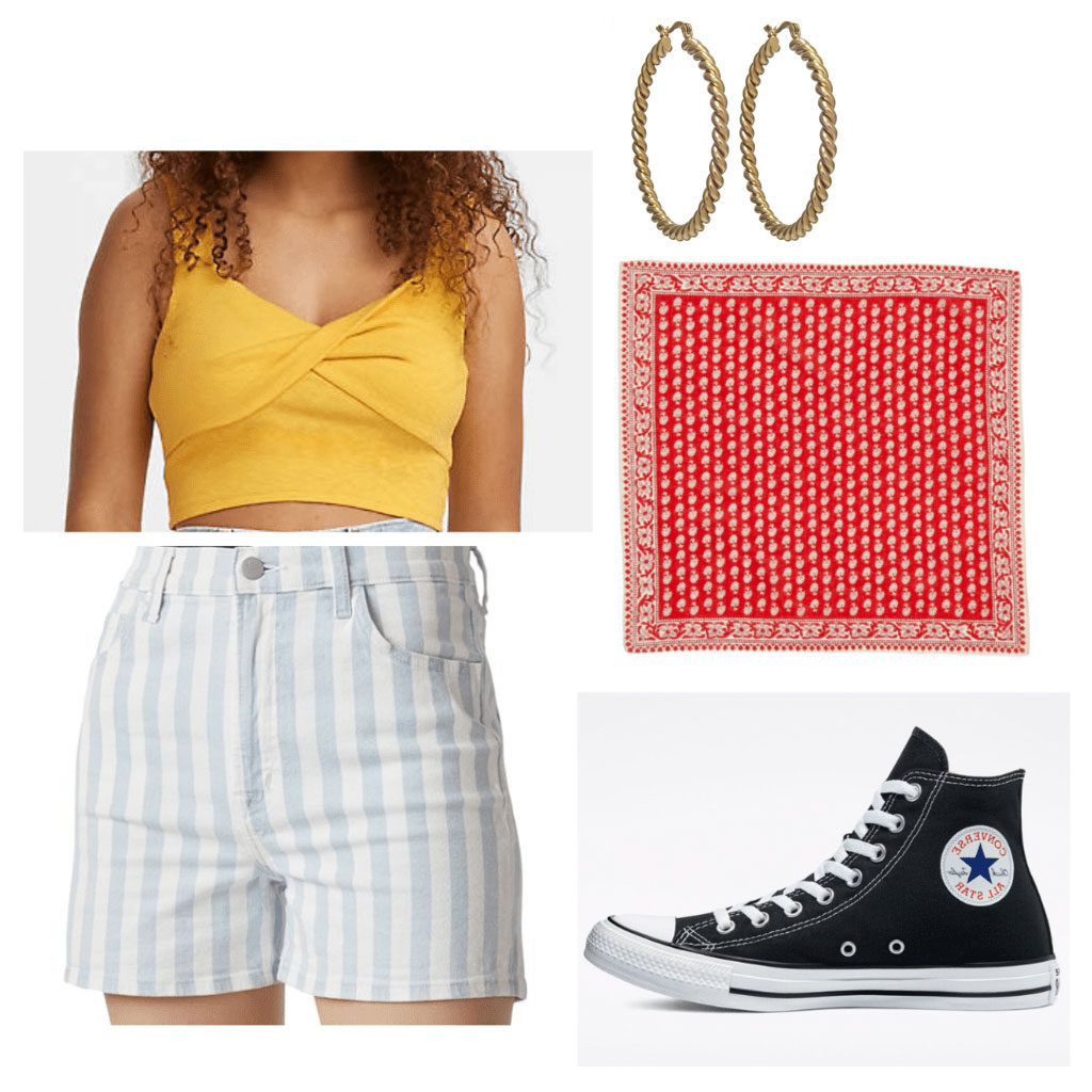 Summer outfit idea inspired by Georgia from Ginny and Georgia with striped shorts, Converse sneakers, crop top, red bandana, gold earrings