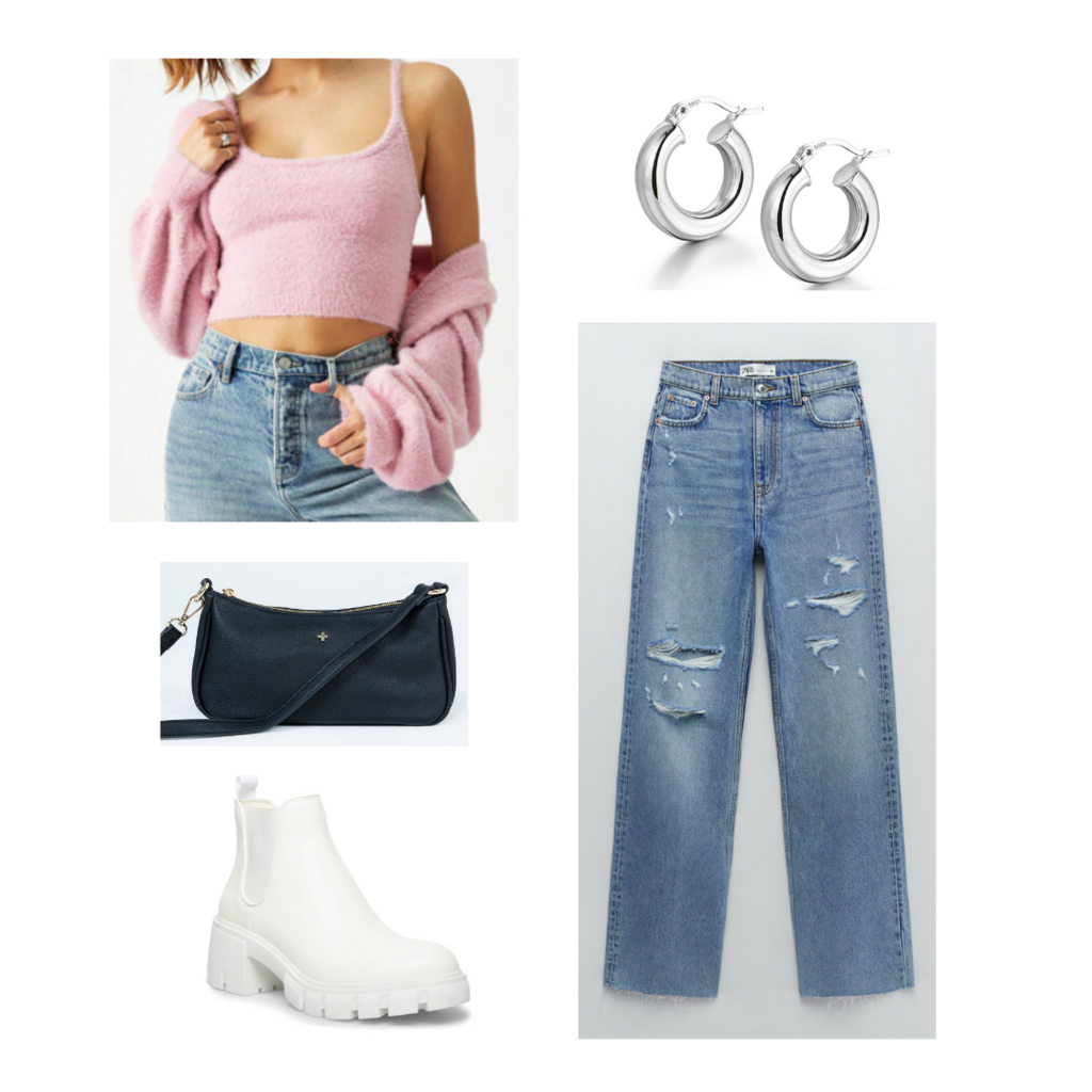 what to wear when it's cold in the morning and hot in the afternoon: Outfit with ripped jeans, sweater and crop top set, ankle boots, mini bag