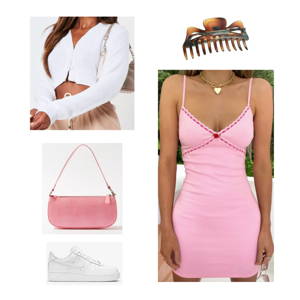 what to wear when it's cold in the morning and hot in the afternoon: Outfit with pink mini dress, pink mini bag, white zip cardigan, Nike Air Force 1s, claw clip