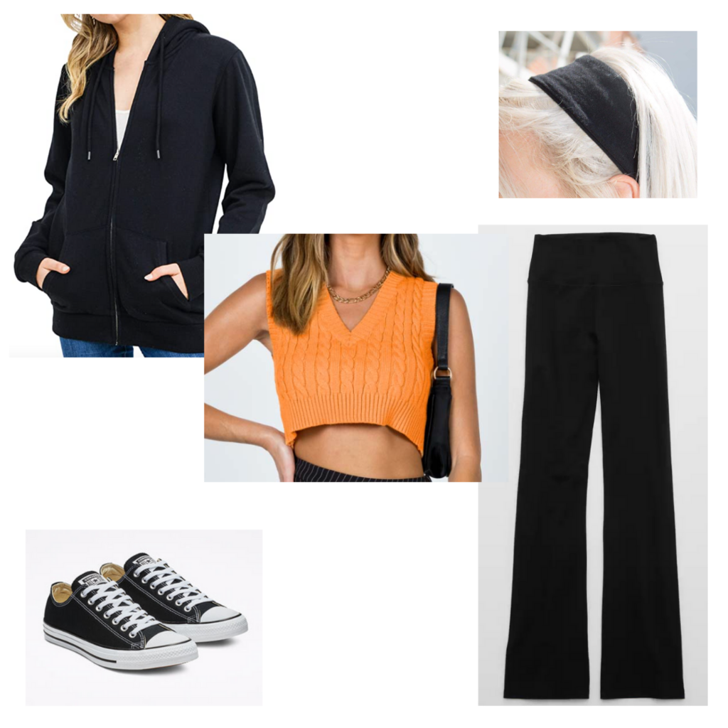 what to wear when it's cold in the morning and hot in the afternoon: Outfit with yoga pants, cropped sweater tank, Converse sneakers, oversized black hoodie, headband