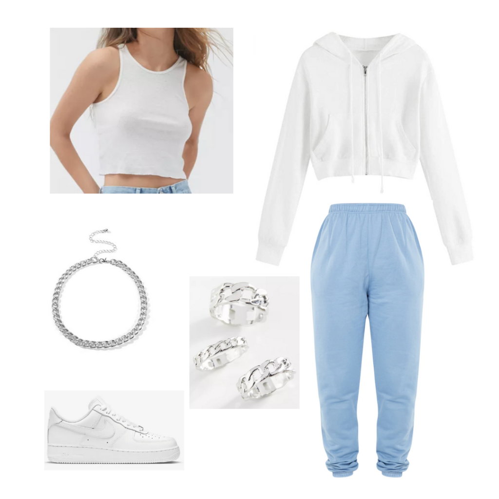 what to wear when it's cold in the morning and hot in the afternoon: Outfit with sweats, crop top, hoodie, chain necklace, sneakers, rings