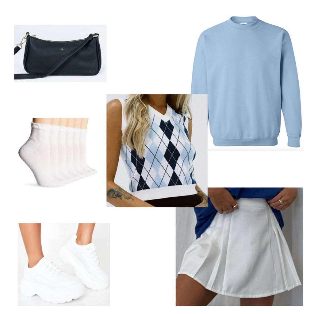 what to wear when it's cold in the morning and hot in the afternoon: Cute outfit with mini skirt, sweater vest, sweatshirt, mini bag, socks, dad sneakers