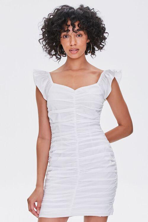 White ruffle ruched dress