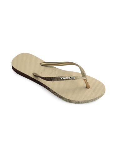 Gold metallic flip flops
