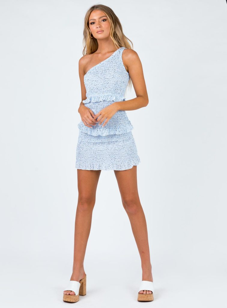 Princess Polly blue ruffle dress