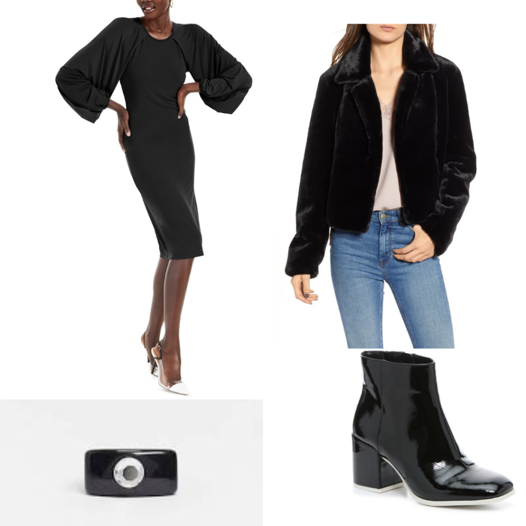 General Kirigan outfit with black dress, black fir coat, black heeled boots and black ring.