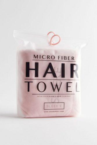 Pink microfiber hair towel