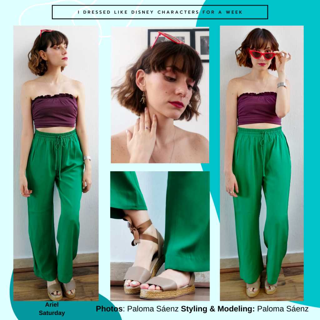 Disney character Ariel inspired outfit, purple tube top, high-waisted green flowy pants, taupe and brown sandals, red cat eye sunglasses