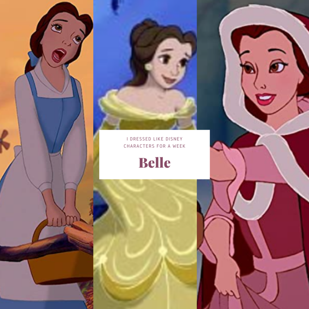 Collage of animated photos of Belle