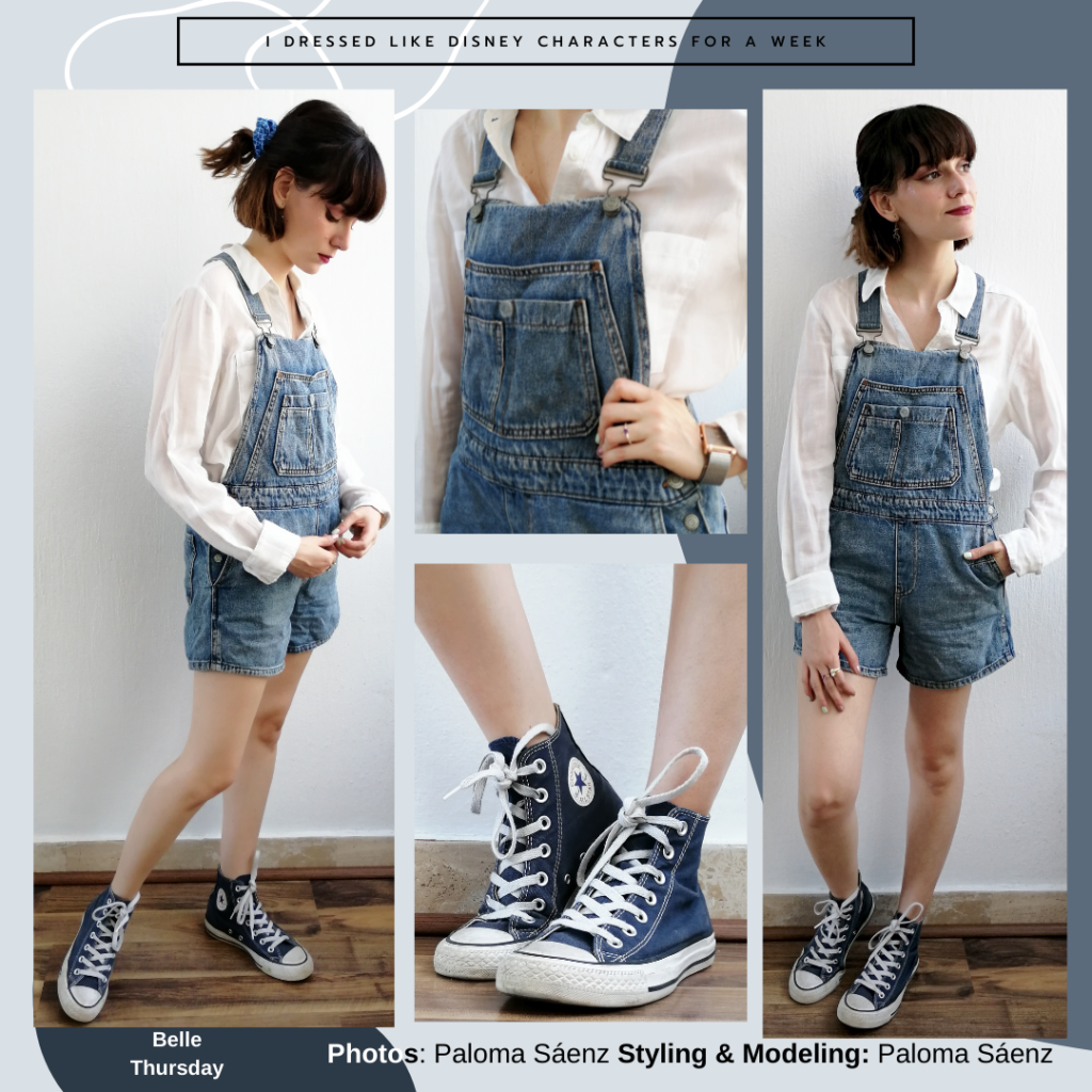 Belle from Beauty and the Beast inspired outfit: blue overall shorts, long-sleeve white shirt, black high top converse, blue scrunchie