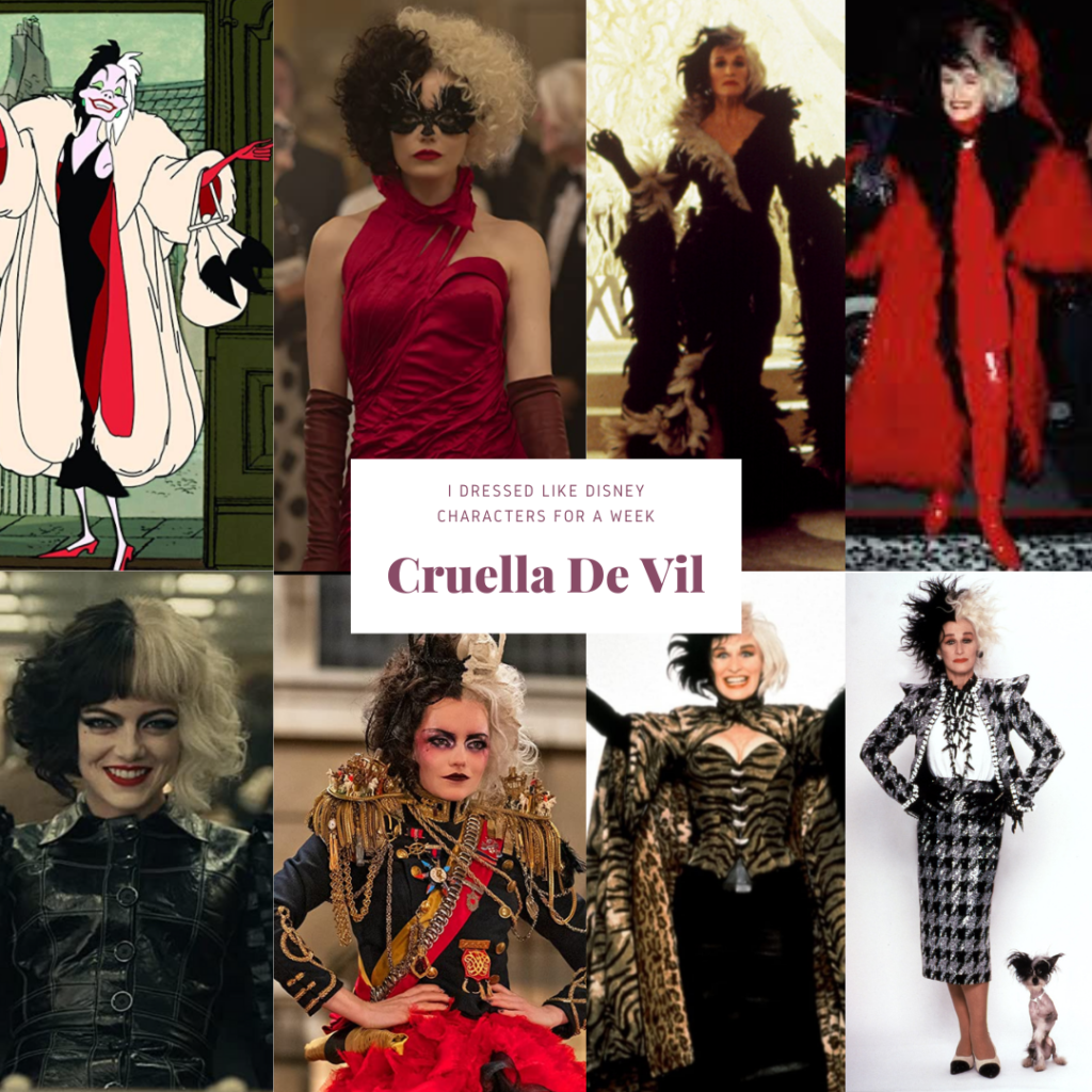 Collage of images of Cruella De Vil in both live action and animation