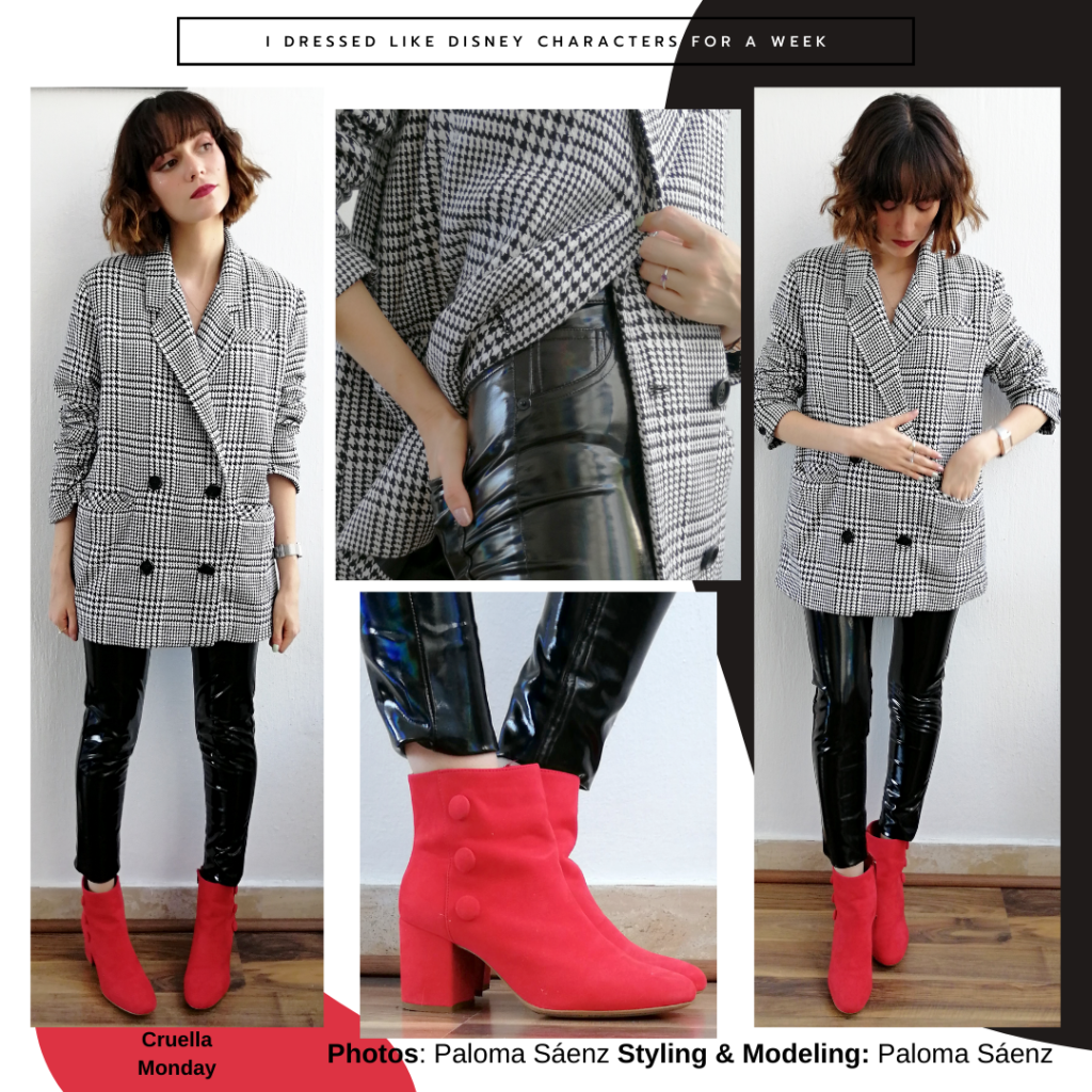 Cruella de Vil inspired outfit: oversized plaid blazer jacket, pvc leggings, red chunky heeled booties