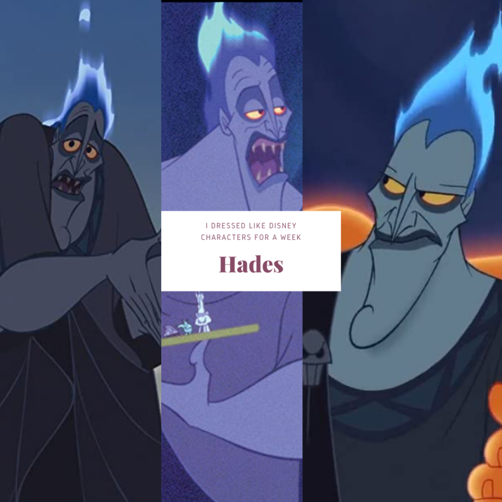 Collage of animated photos of Hades Disney cartoon