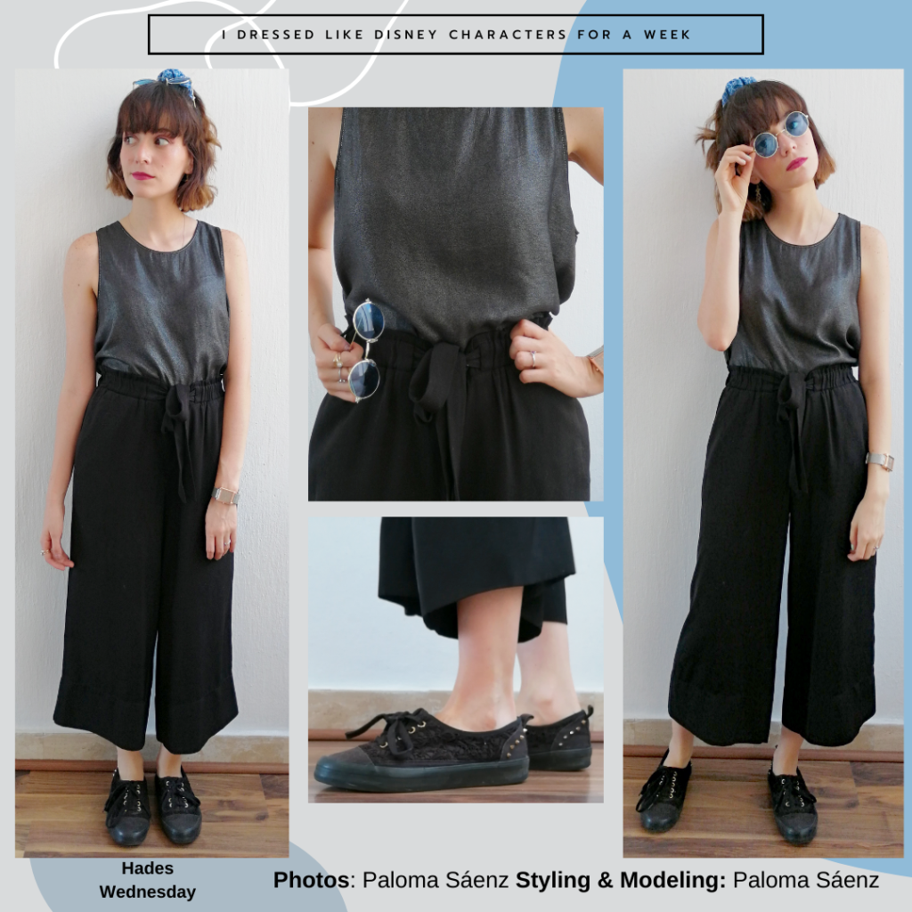 Hades inspired outfit: grey baggy tank top, black wide leg culottes, black sneakers, blue scrunchie, circle blue sunglasses
