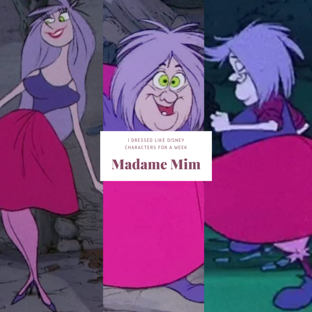 Collage of photos of Madame Mim Disney character