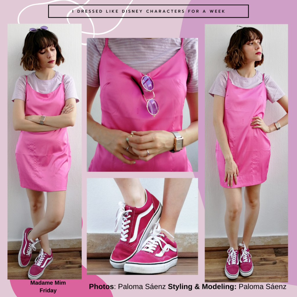 Madame Mim inspired outfit: silky pink spaghetti strap dress over a lilac striped short sleeve tee, silver rings, watch, and pink Vans sneakers