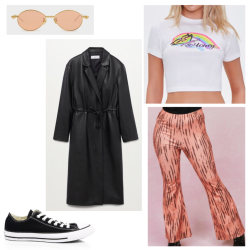 Olivia Rodrigo London inspired outfit: white crop graphic tee, orange flare pants, black trench coat, black low top converse