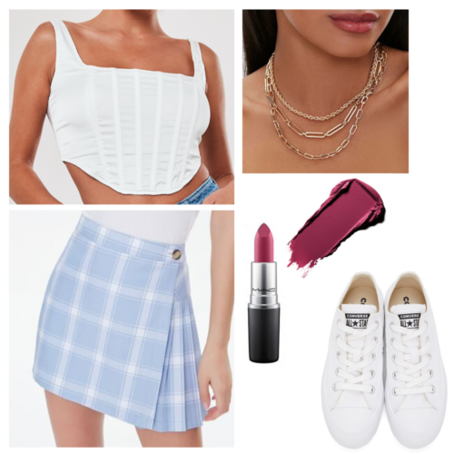 Olivia Rodrigo good 4 u inspired outfit: white crop top, blue plaid skirt, white converse low tops, berry lipstick, layered gold chain necklaces