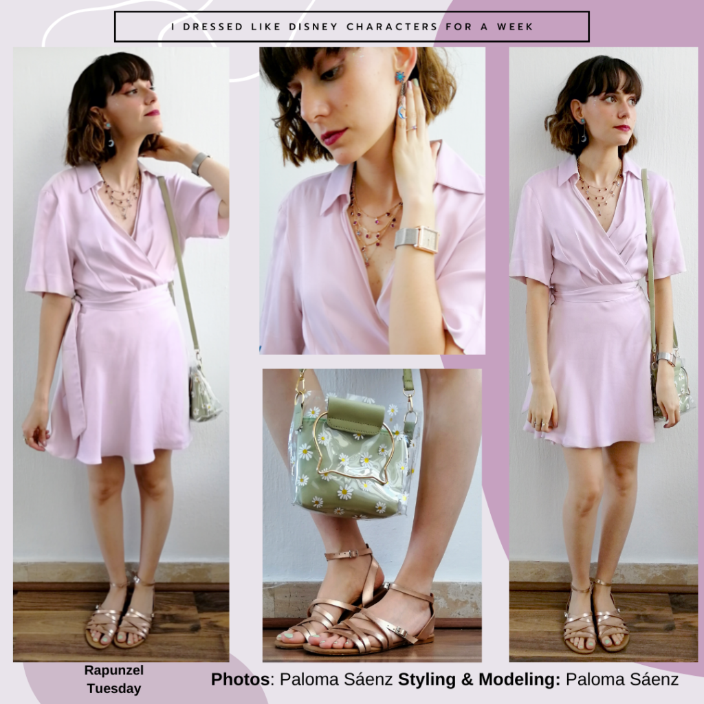 Rapunzel inspired outfit: lilac satin wrap dress, delicate layered necklace, clear green bag with daisy print