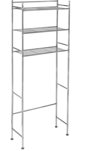 Over-the-toilet chrome storage shelf from Amazon, college bathroom essential item