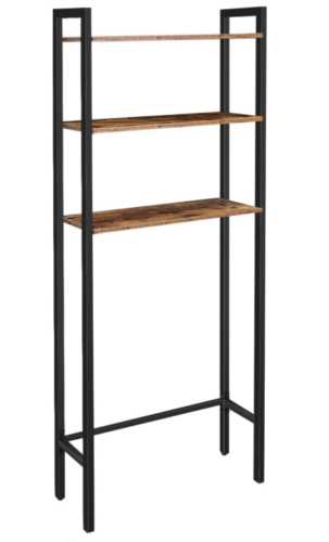 Wood and metal over-the-toilet storage shelf from Amazon