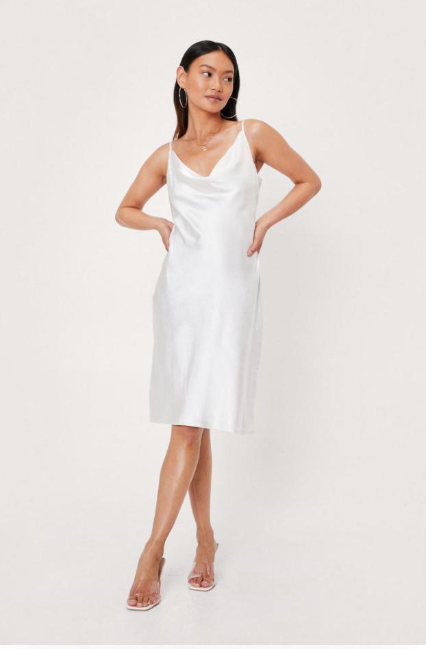White satin midi dress
