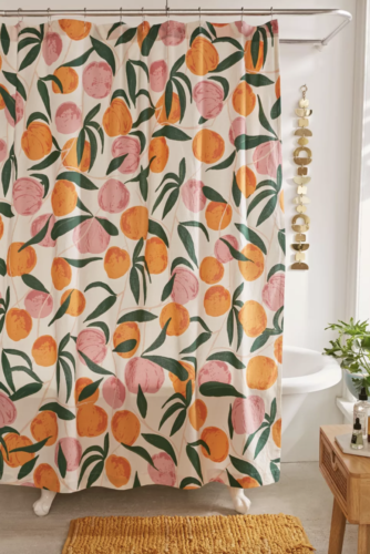 Peach shower curtain for college bathroom from Urban Outfitters
