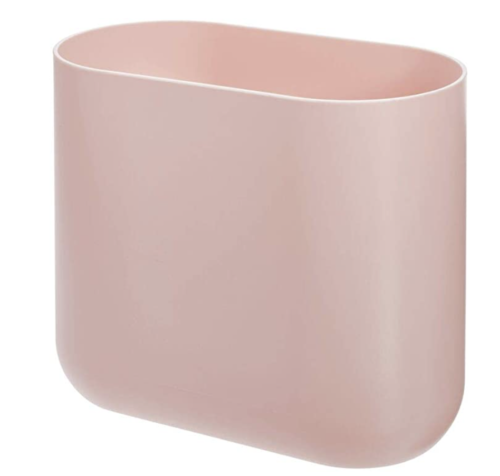 Blush pink college bathroom trash can essential item from Amazon