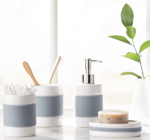 Blue and white bathroom accessory set from Wayfair