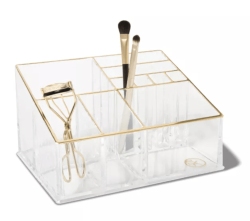 Clear and gold countertop makeup organizer