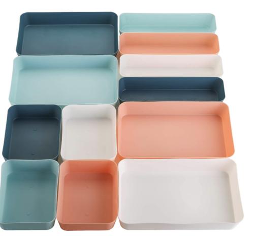 Blue, peach, and white drawer organizers