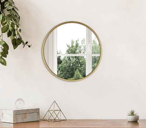 Gold circle wall mirror from Bed Bath & Beyond