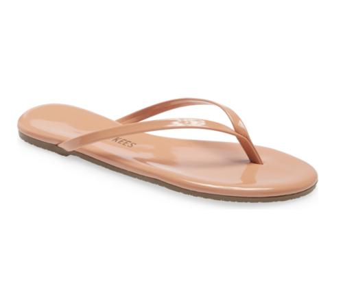 Tkees glossy flip flops in tan