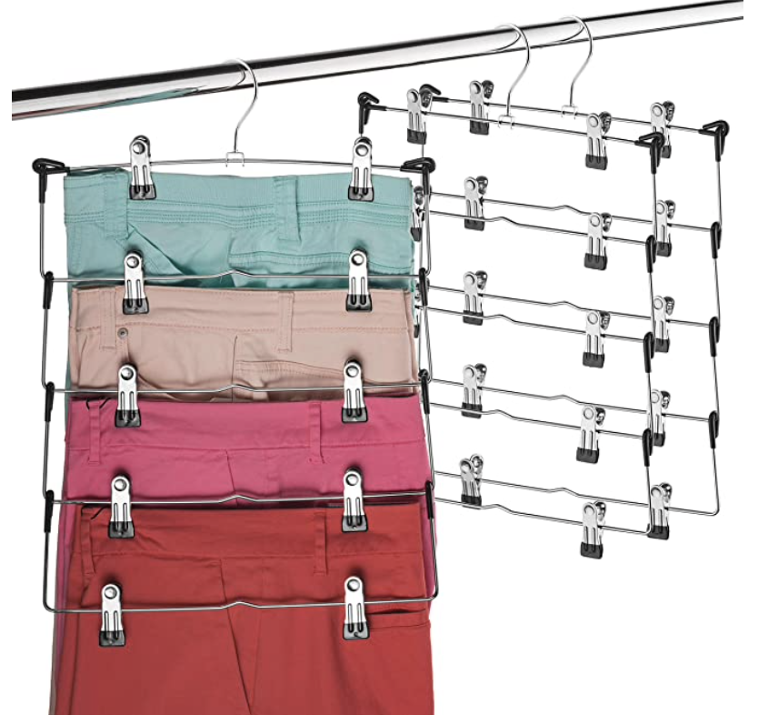Layered pants hanger with clips from Amazon