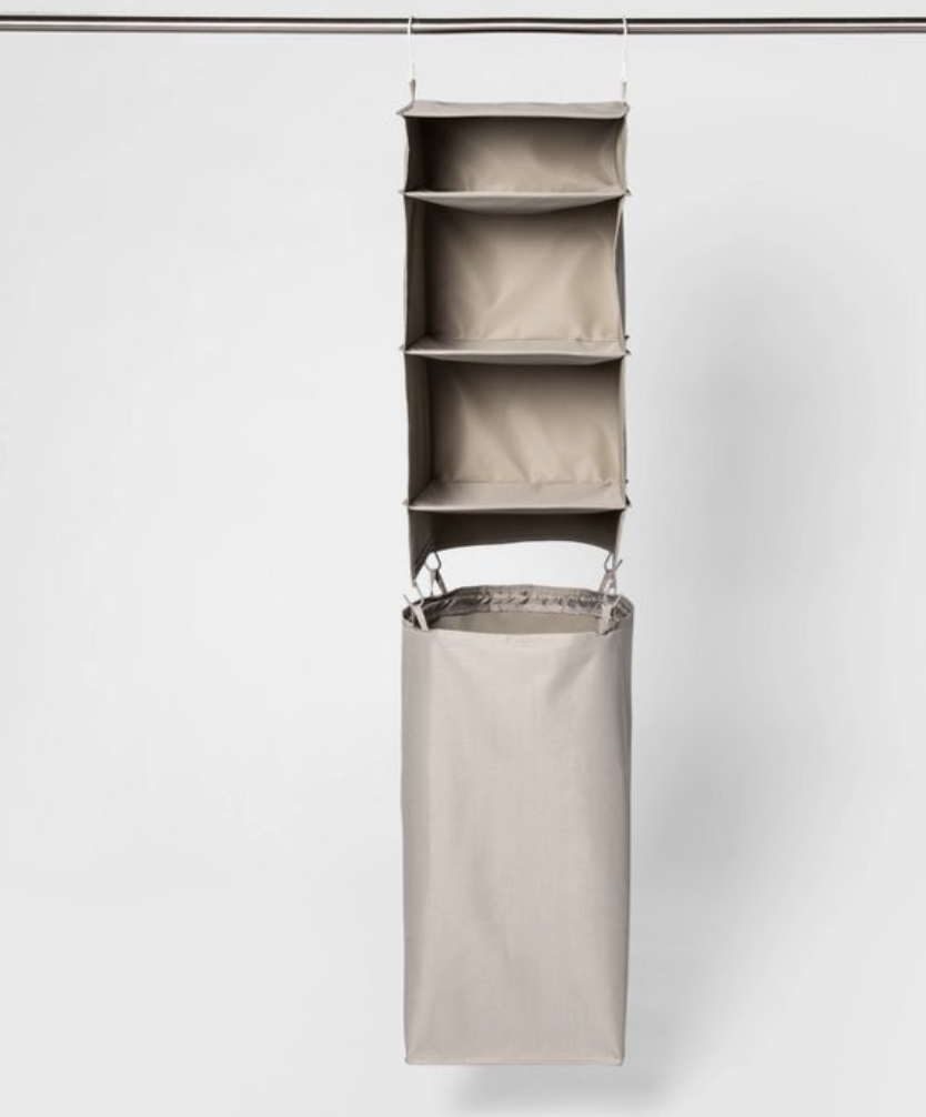 hanging shelf for folded clothes with hamper from Target