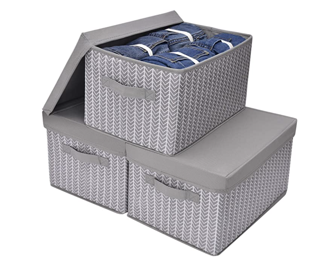 Grey and white herringbone printed storage bins with lids from Amazon
